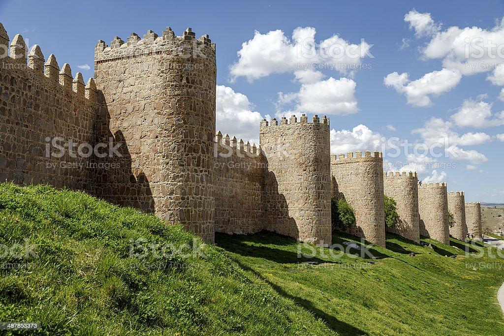 Scenic medieval city walls of Avila stock photo