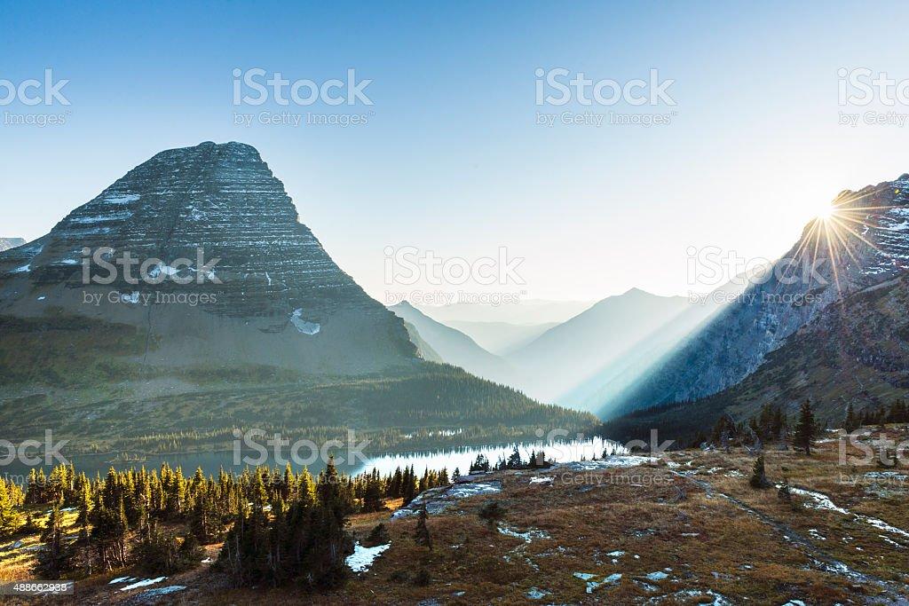 Scenic Montana View Logan Pass Glacier National Park Mountain Landscape stock photo