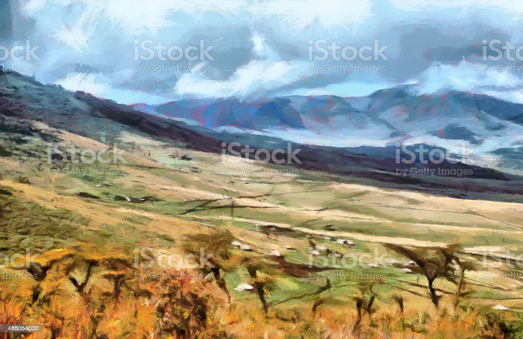 Scenic mountain landscape of african tribal houses at valley painting stock photo