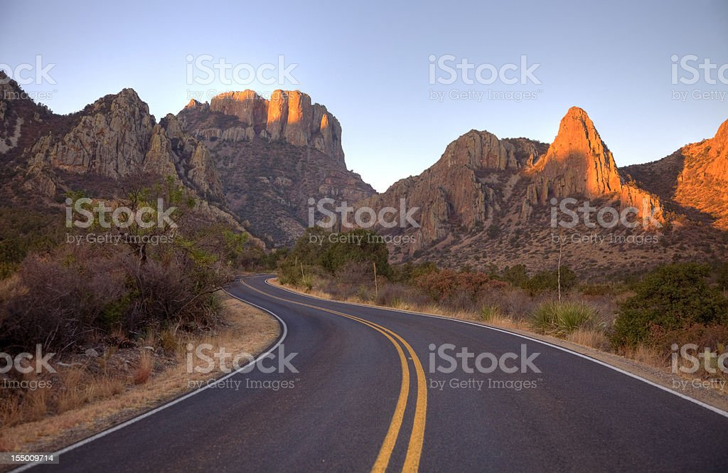 Scenic Mountain Road in Texas near Big Bend National Park stock photo