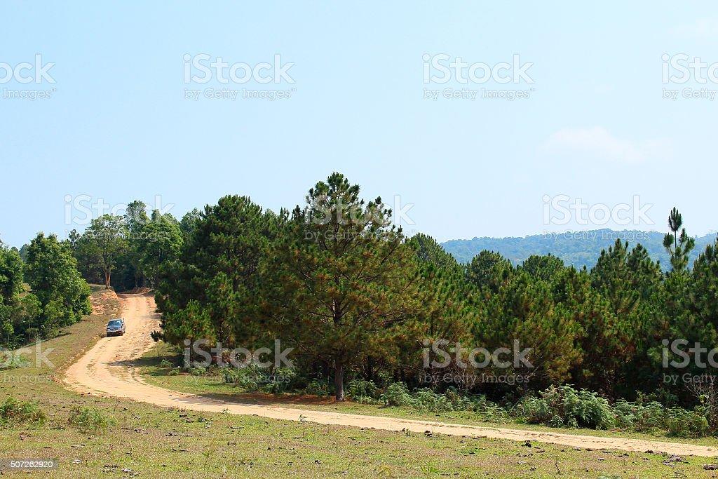 Scenic mountain road stock photo