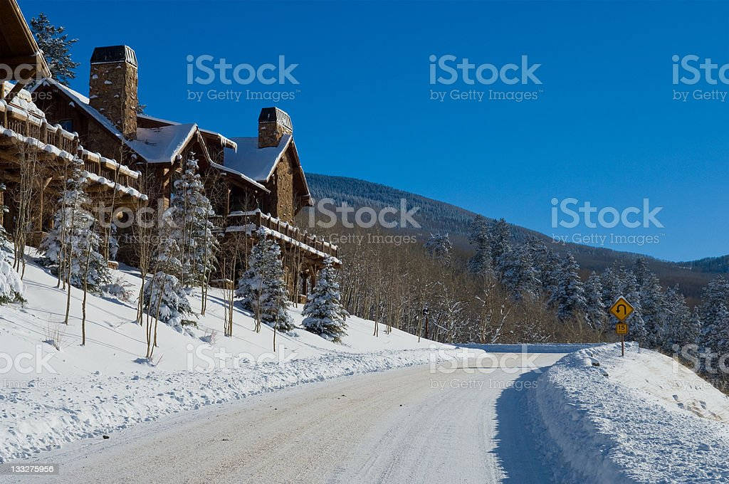 Scenic Mountain Road Sunny Day in the Winter stock photo