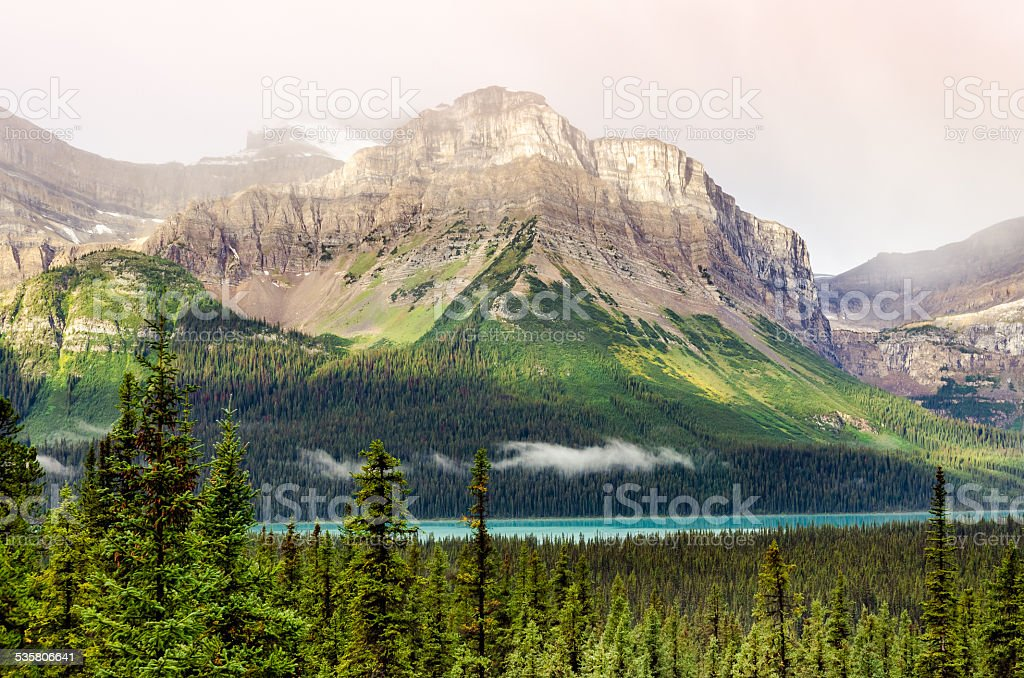 Scenic mountain view near Icefields parkway, Canadian Rockies stock photo