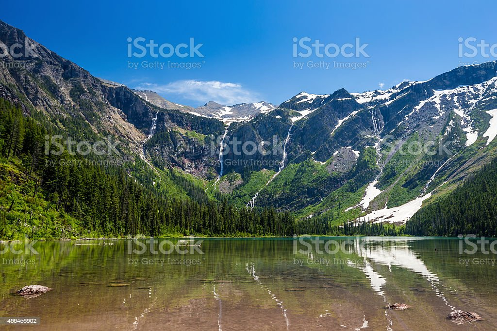 Scenic mountain views, Avalanche Lake, Glacier National Park Mon stock photo