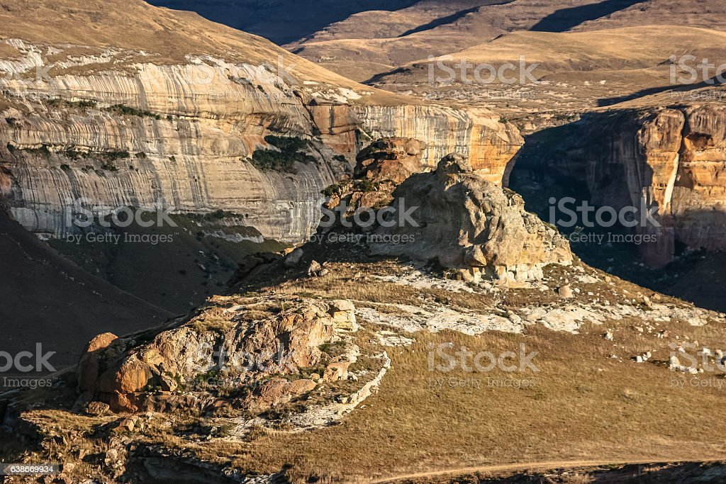 Scenic mountains, illuminated by warm late afternoon light stock photo