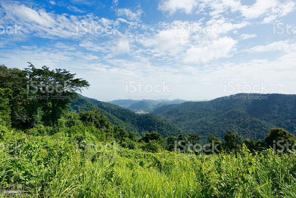 Scenic Mountian View in Khao Yai National Park Thailand stock photo