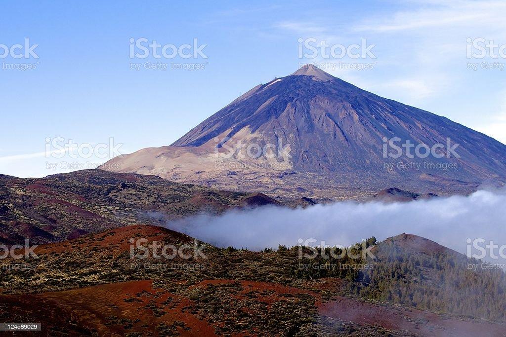 Scenic Mt Teide, Tenerife with ground level cloud stock photo