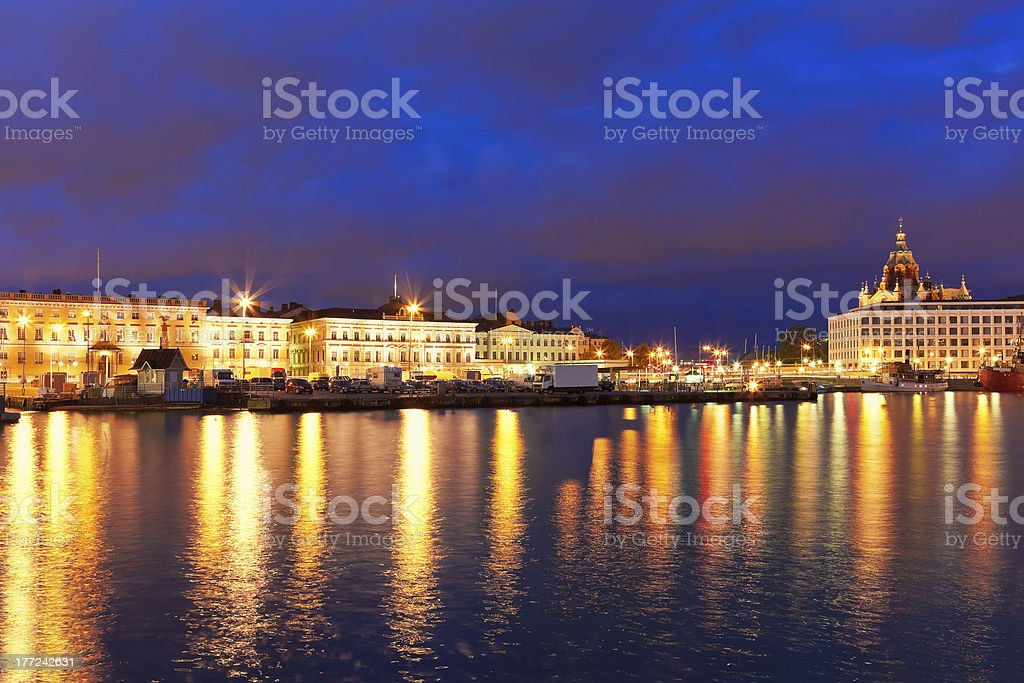 Scenic night panorama of the Old Town in Helsinki, Finland royalty-free stock photo