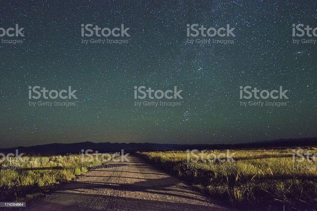 Scenic Night Sky Stars over Rural Montana Western USA royalty-free stock photo
