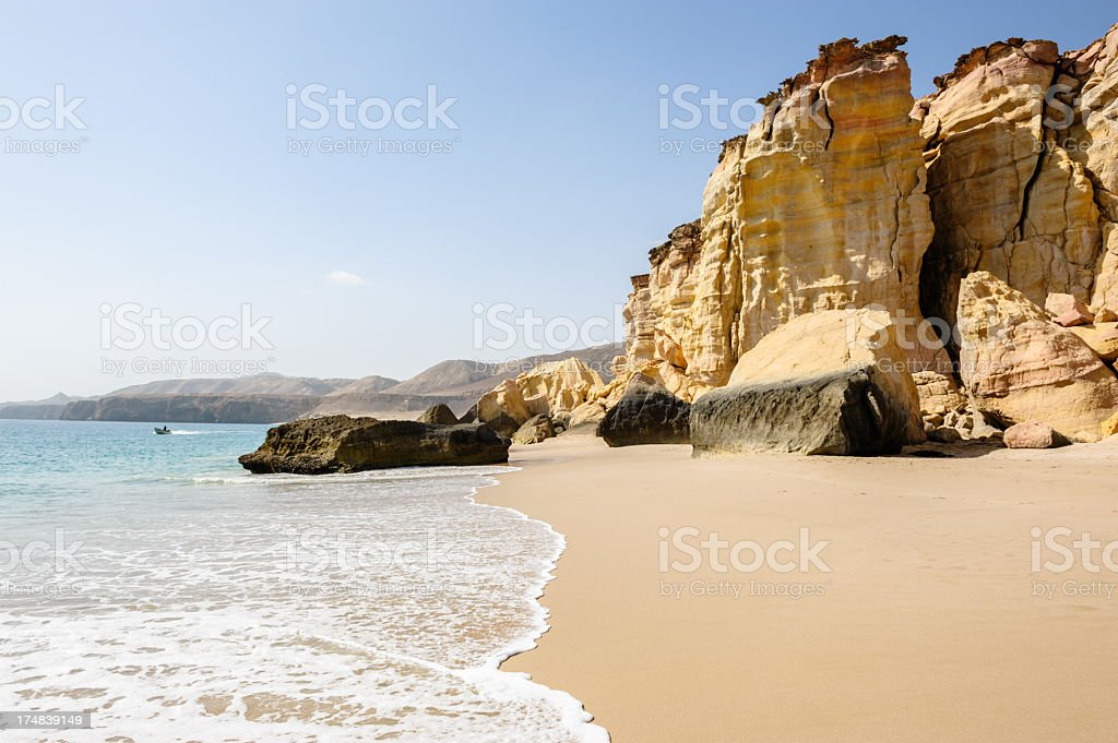 A scenic ocean view of Ras al-Jinz beach stock photo