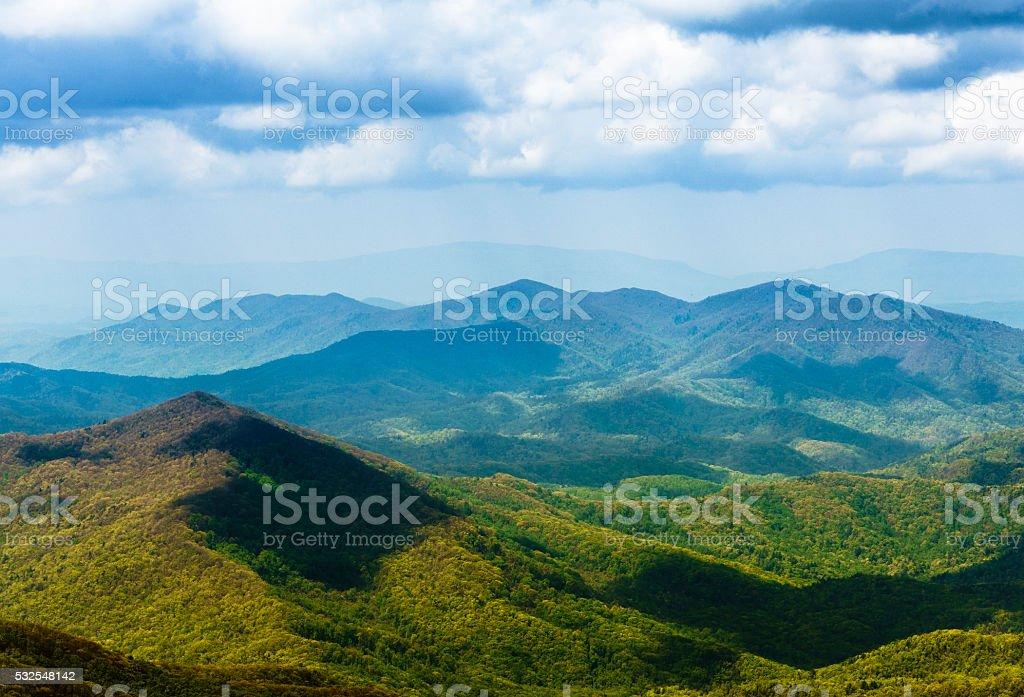 Scenic of Great Smoky Mountains from Cherohala Skyway, North Carolina stock photo
