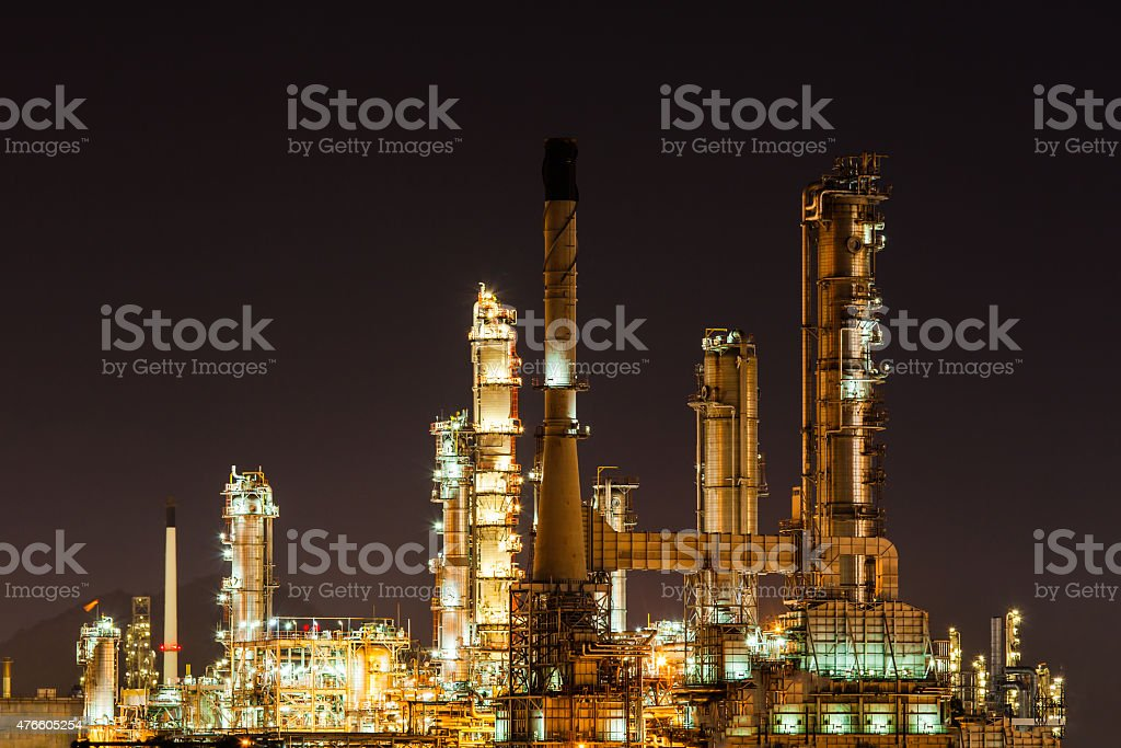 Scenic of oil refinery plant Industry at night, stock photo