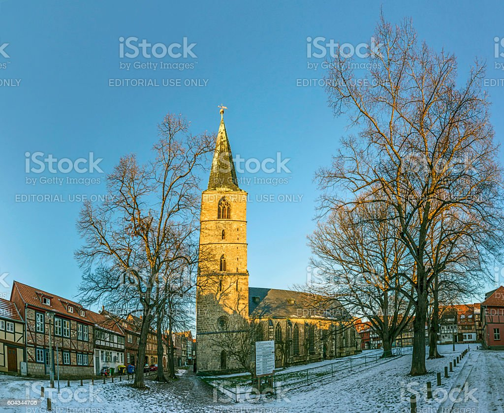 scenic old half timbered houses in Quedlingburg stock photo