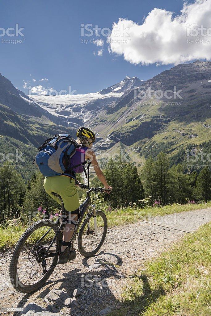 Scenic Pal? Glacier biking, Switzerland stock photo
