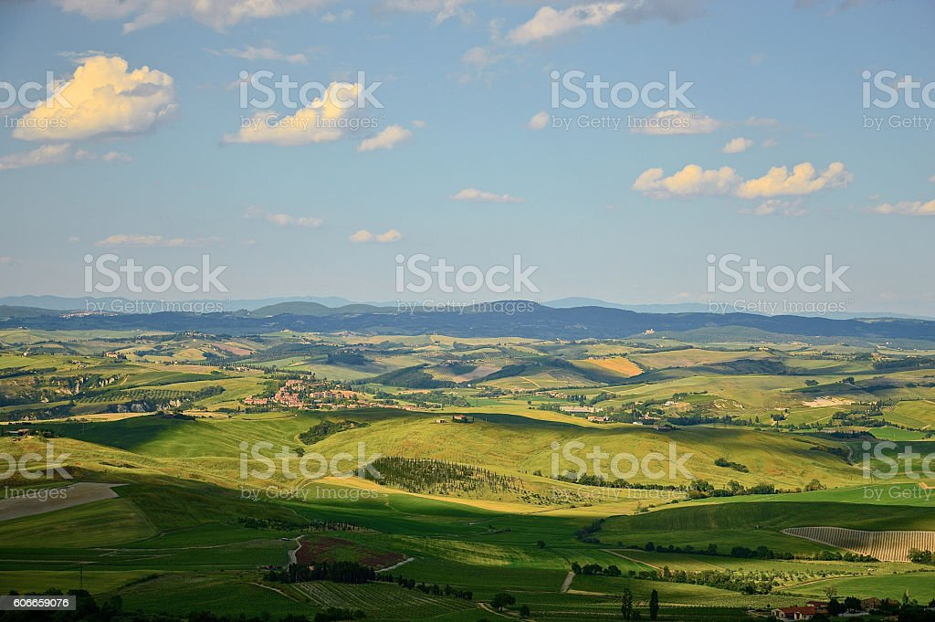 Scenic panorama near Montalcino, Tuscany stock photo