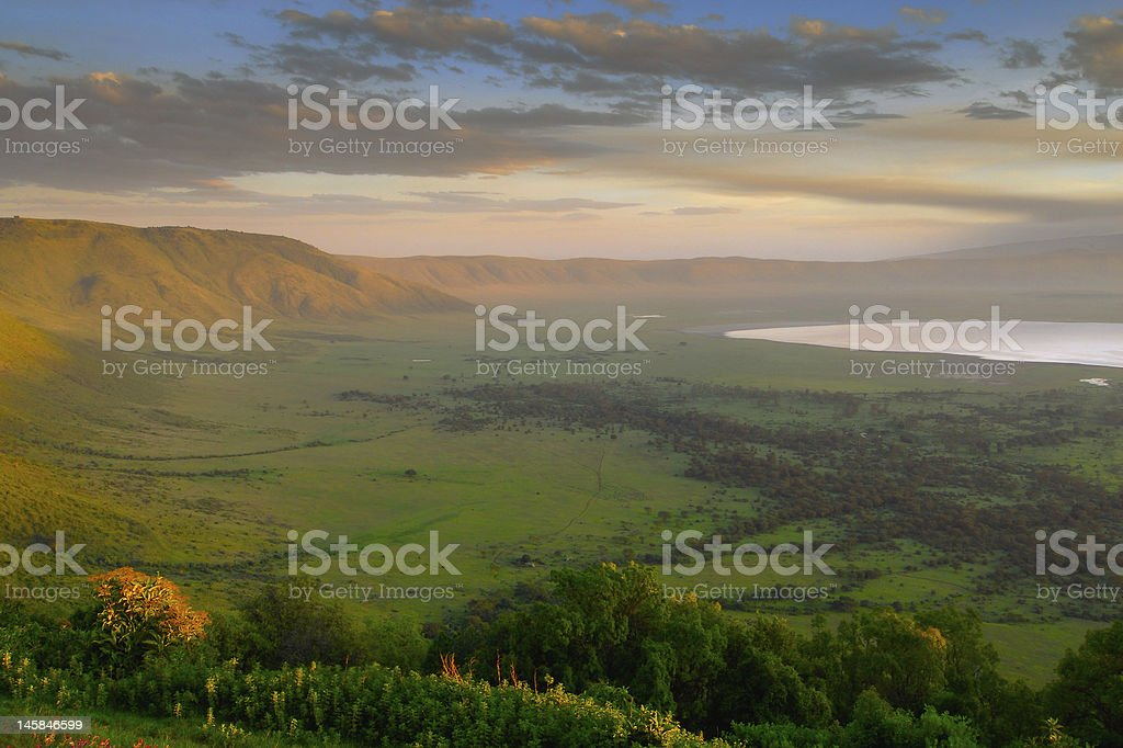 Scenic panorama of a crater in Tanzania at sunset stock photo