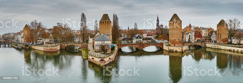 Scenic panorama of historical center of Strasbourg, France stock photo