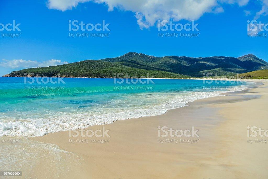 Scenic panorama of remote Australian beach stock photo