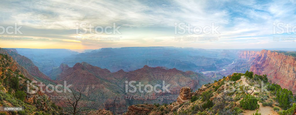 Scenic panoramic overview of the Grand Canyon stock photo
