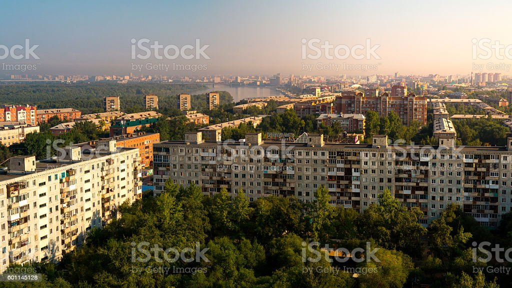 Scenic panoramic rooftop view of Omsk city and Irtysh river stock photo