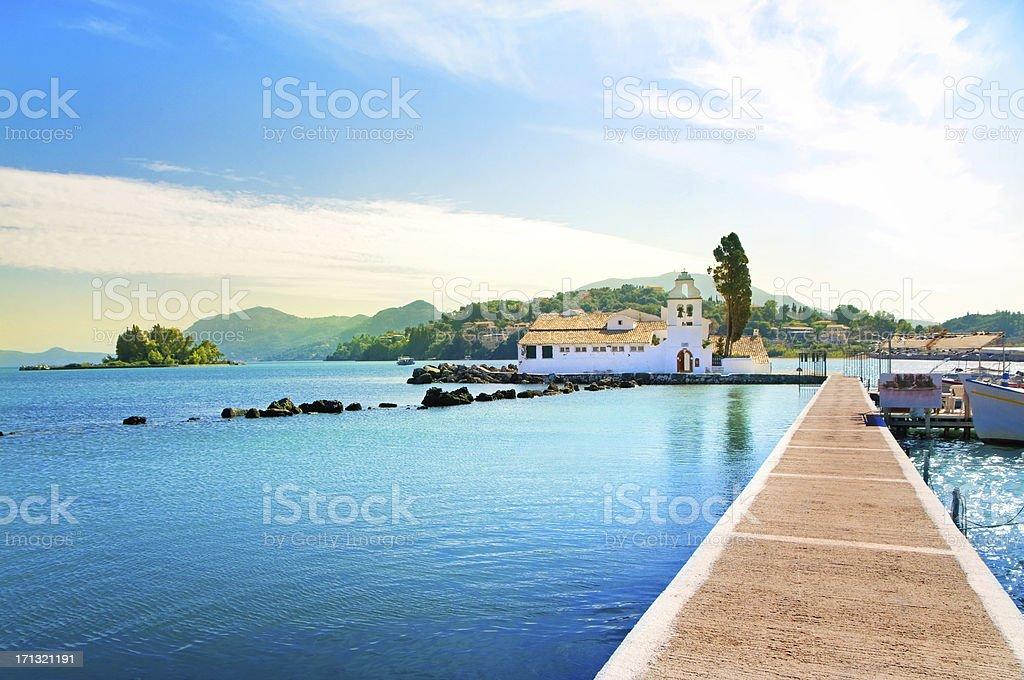 Scenic photo of Pontikonisi of Corfu Island in Greece stock photo