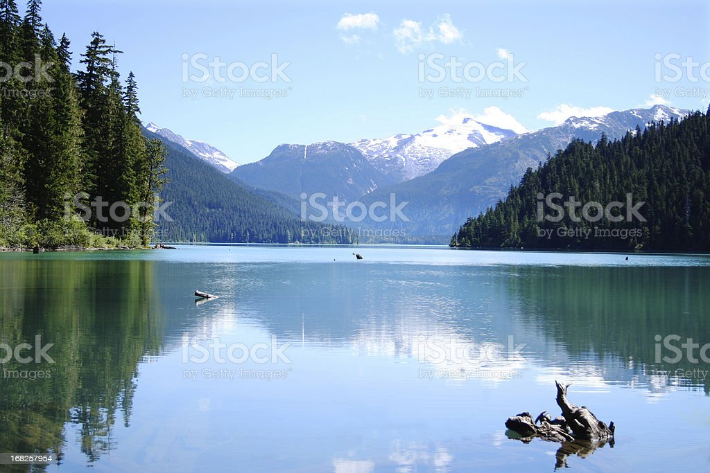 Scenic photo of the calm Cheakamus Lake stock photo