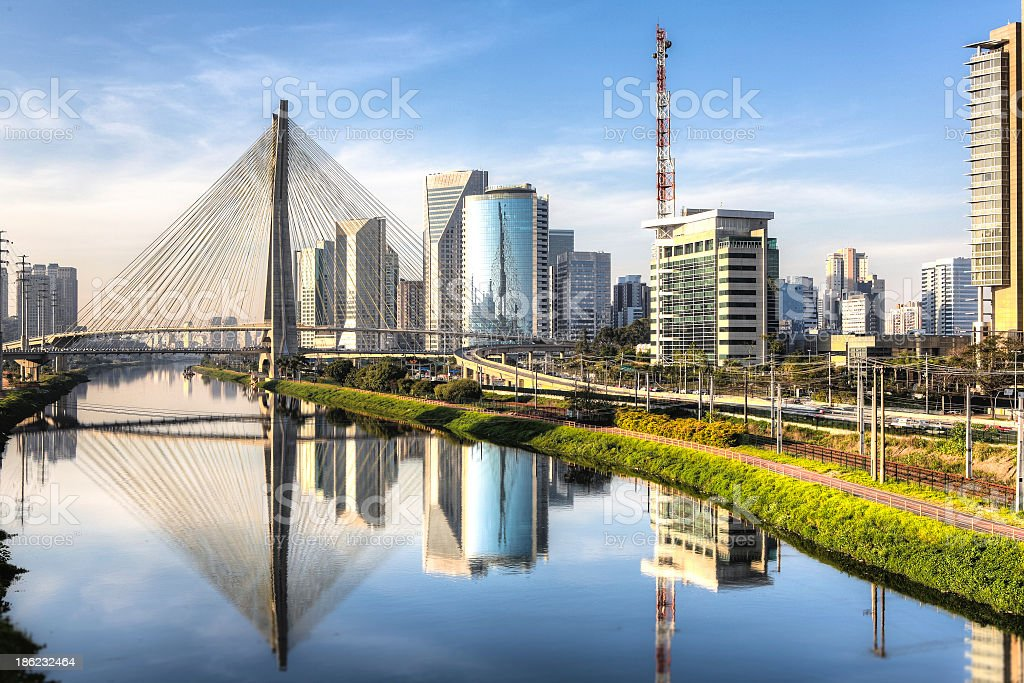 A scenic picture of Ponte Estaiada stock photo