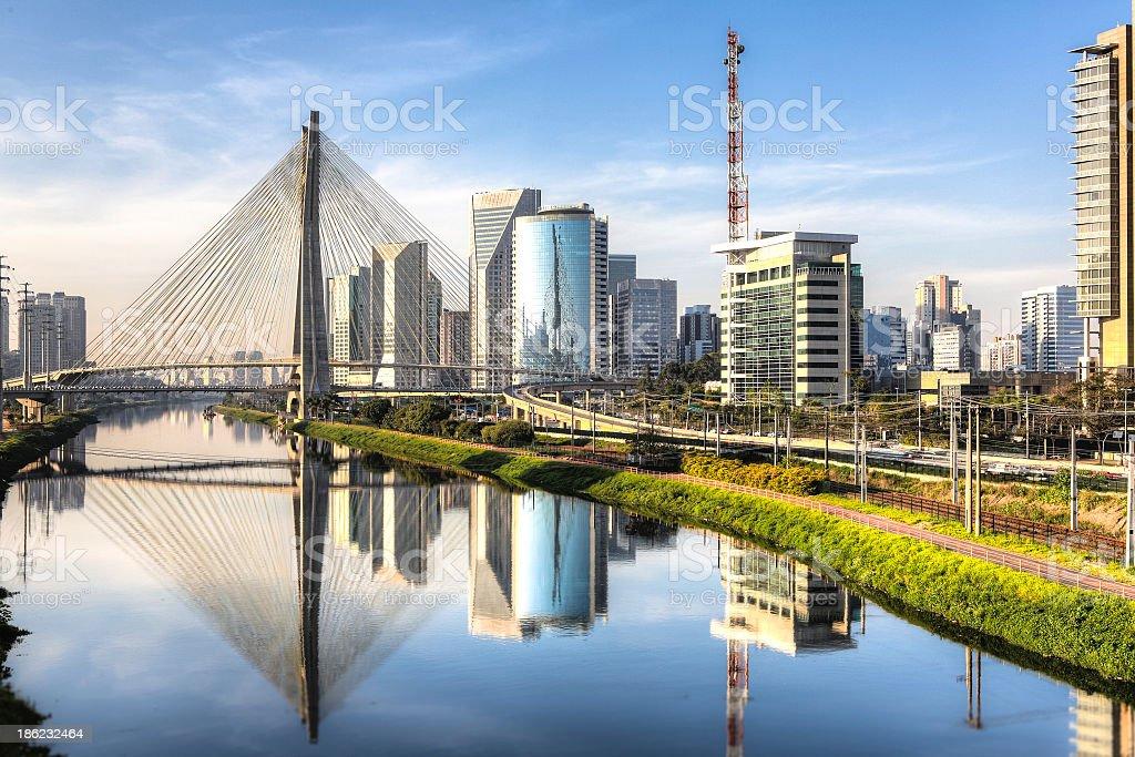 A scenic picture of Ponte Estaiada stock photo