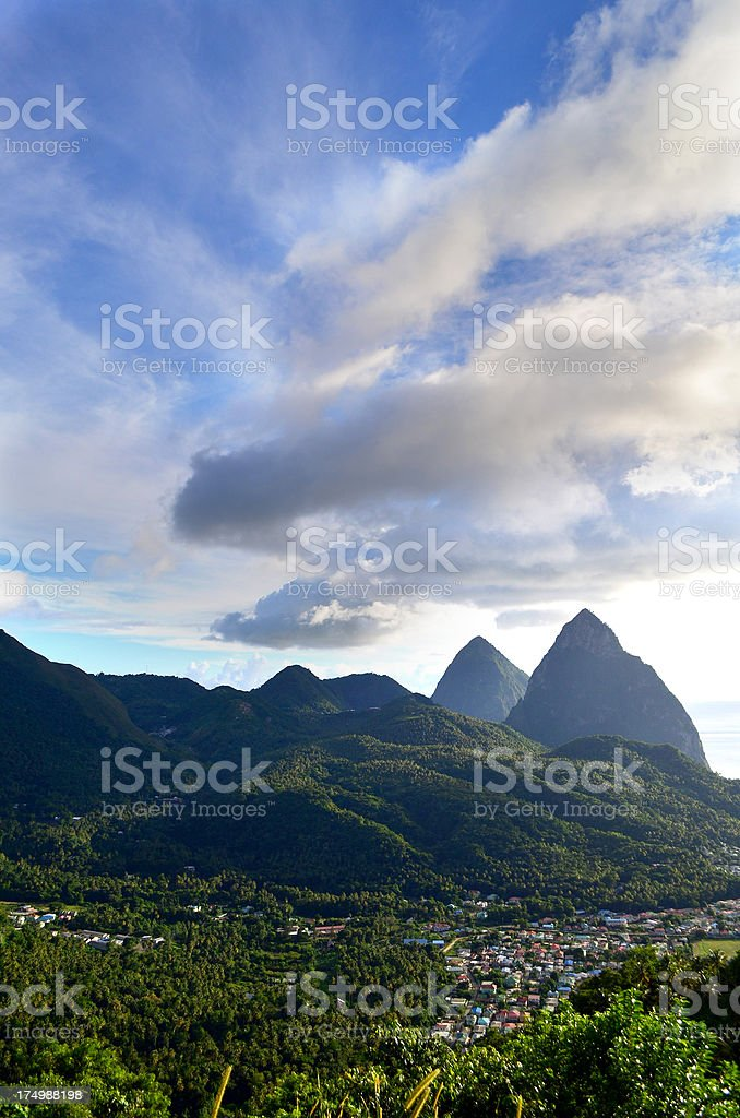 scenic Pitons and Soufriere town St Lucia stock photo