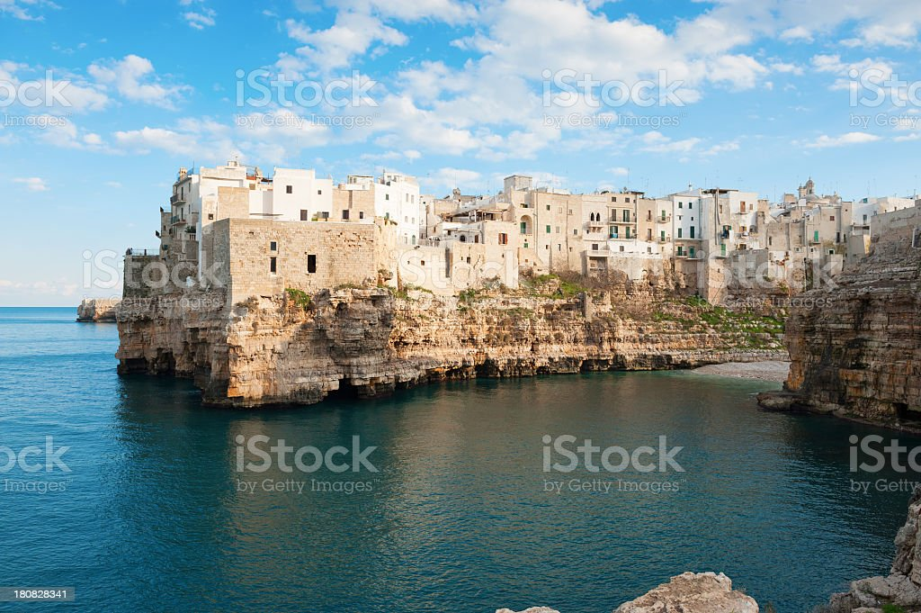 Scenic Polignano a Mare in Bari Apulia in Southern Italy stock photo