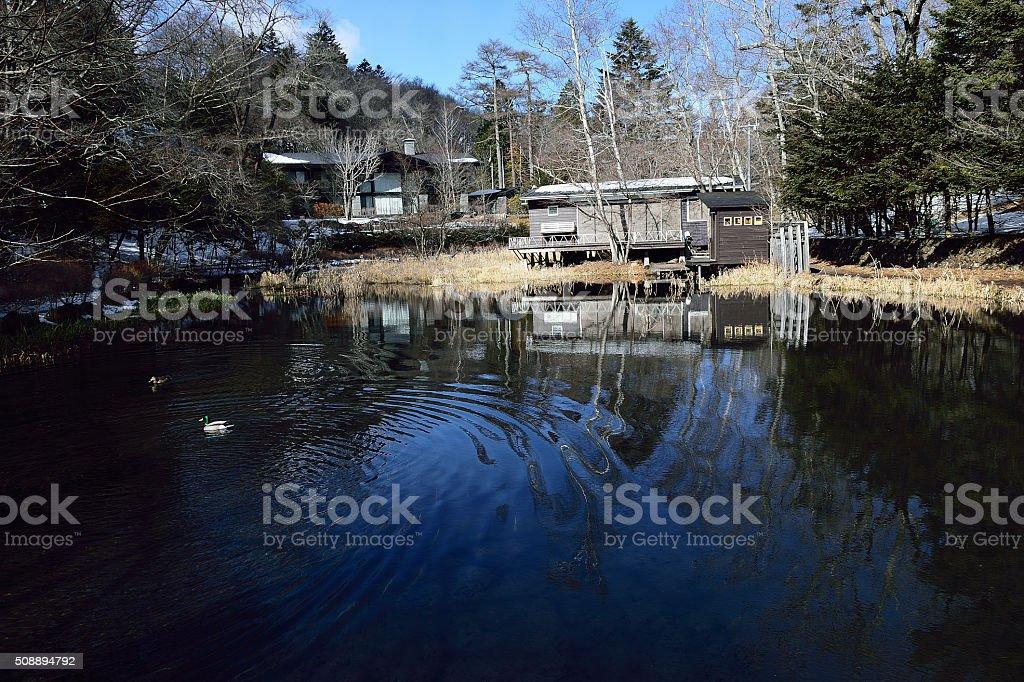 Scenic Pond in Karuizawa, Japan stock photo