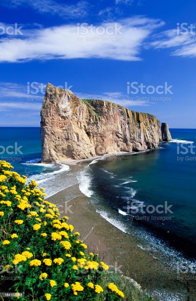 Scenic portrait of the Gaspe Peninsula Perce Rock in Quebec stock photo