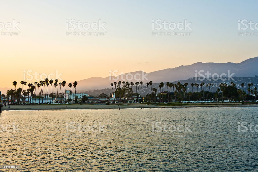 scenic promenade with lighthouse and palms in Santa Barbara stock photo