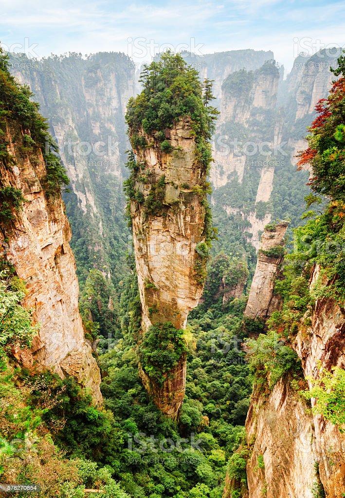 Scenic quartz sandstone pillar the Avatar Hallelujah Mountain stock photo