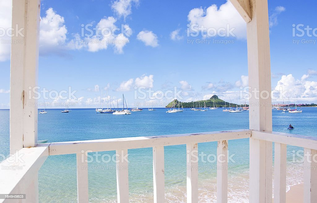scenic reduit beach st lucia and pigeon island stock photo