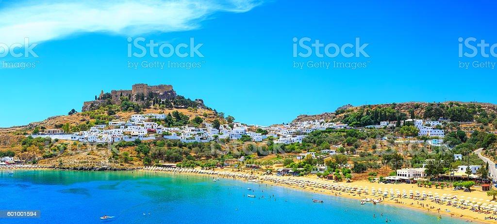 scenic Rhodes island, Lindos bay. Greece, summer sunny day stock photo
