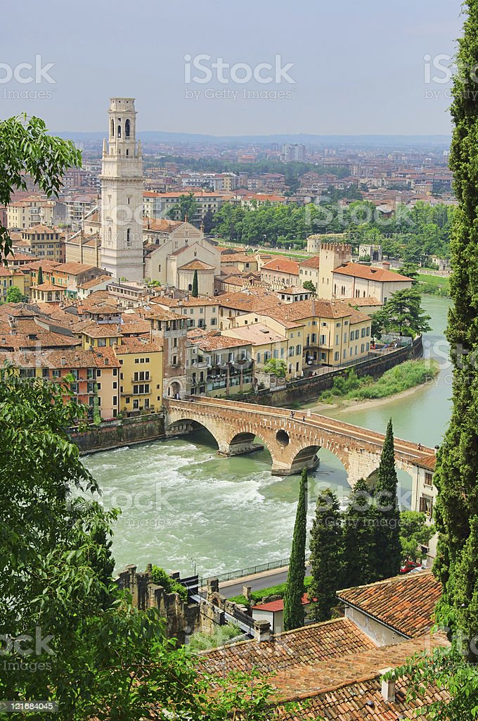 Scenic river view of Verona on a sunny day stock photo
