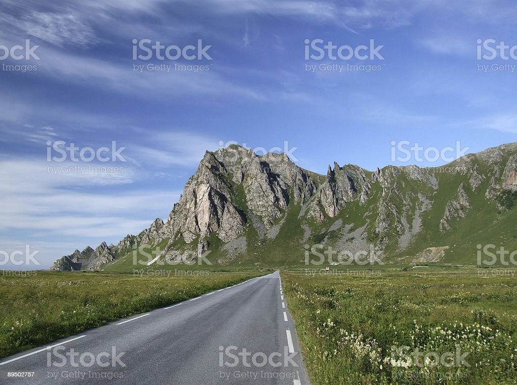 Scenic road and mountains in Norway royalty-free stock photo