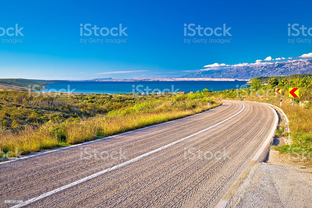 Scenic road by the sea in Croatia stock photo