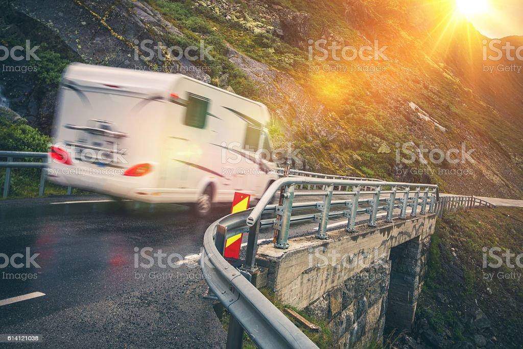 Scenic Road Motorhome Trip stock photo