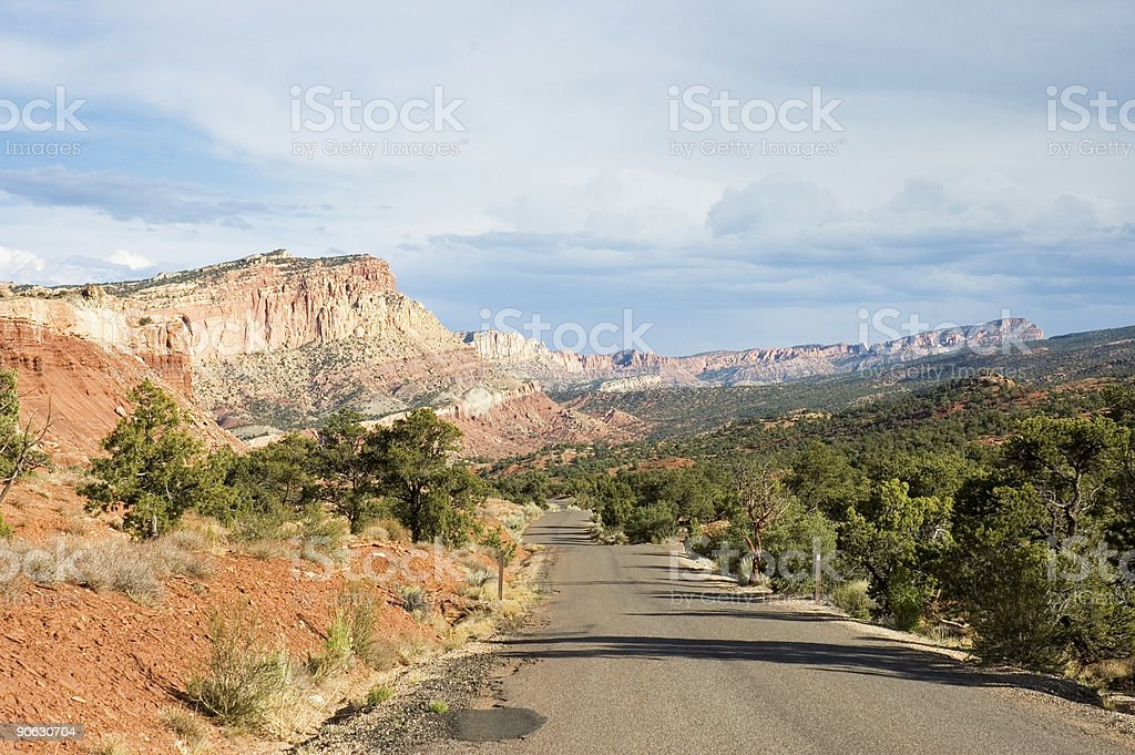 scenic road of Capitol Reef stock photo