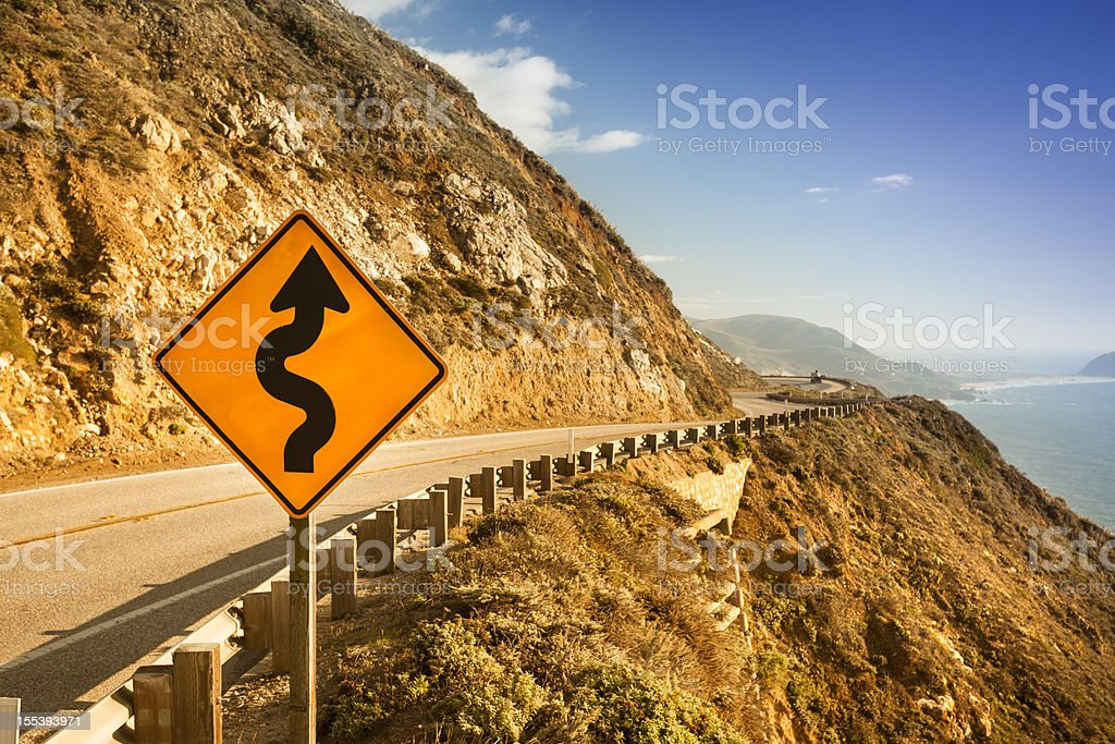 Scenic road on the Big Sur, Coastline and sea royalty-free stock photo