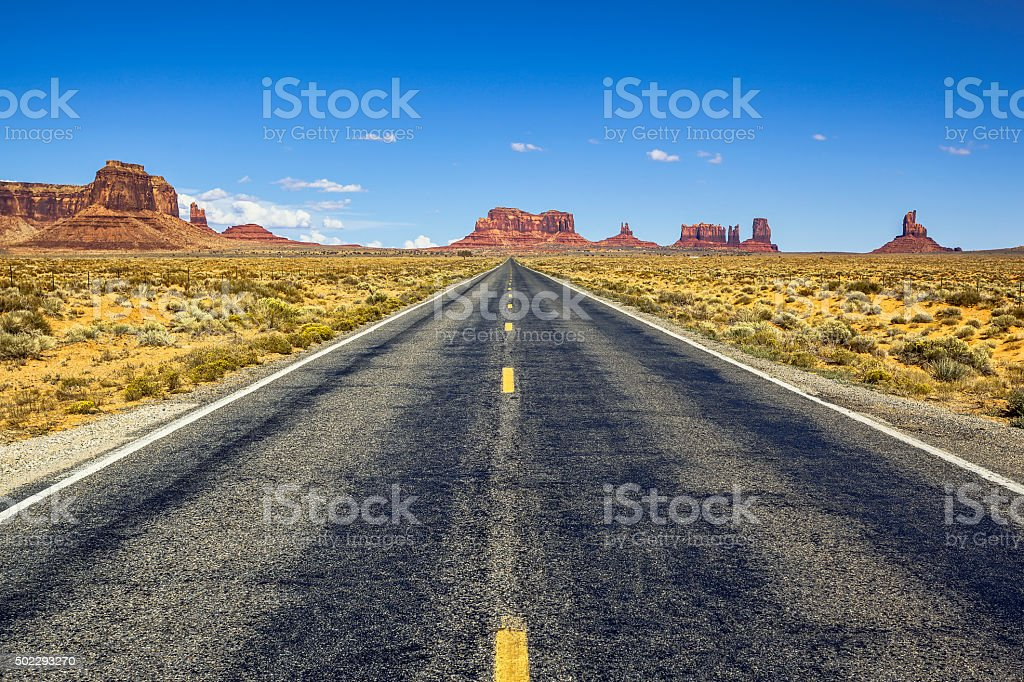 Scenic road to Monument Valley stock photo