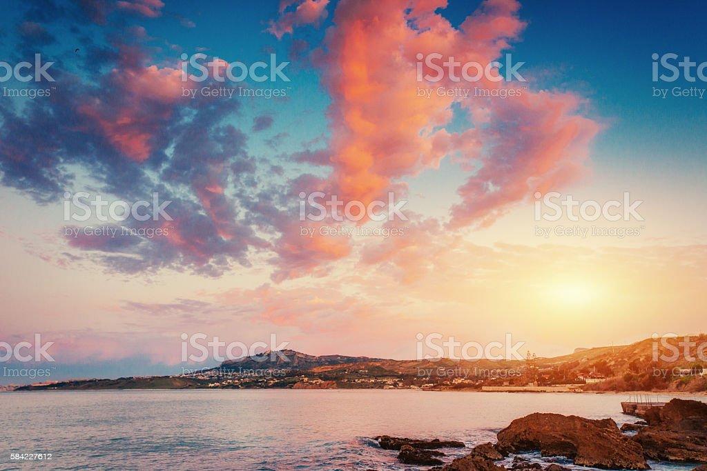 Scenic rocky coastline Cape Milazzo.Sicily, Italy. stock photo