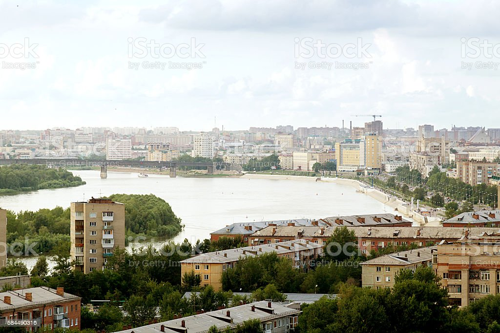 Scenic rooftop view of Omsk city and Irtysh river stock photo