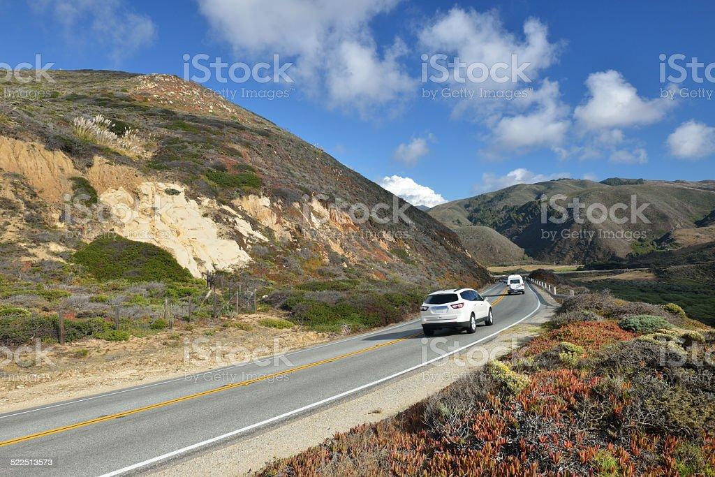 Scenic Route 1 along Big Sur Coast stock photo