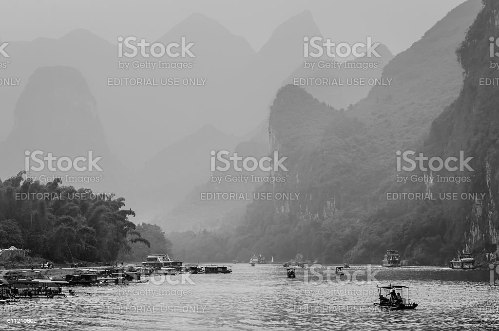 Scenic route along the Li river from Guilin to Yangshou. stock photo