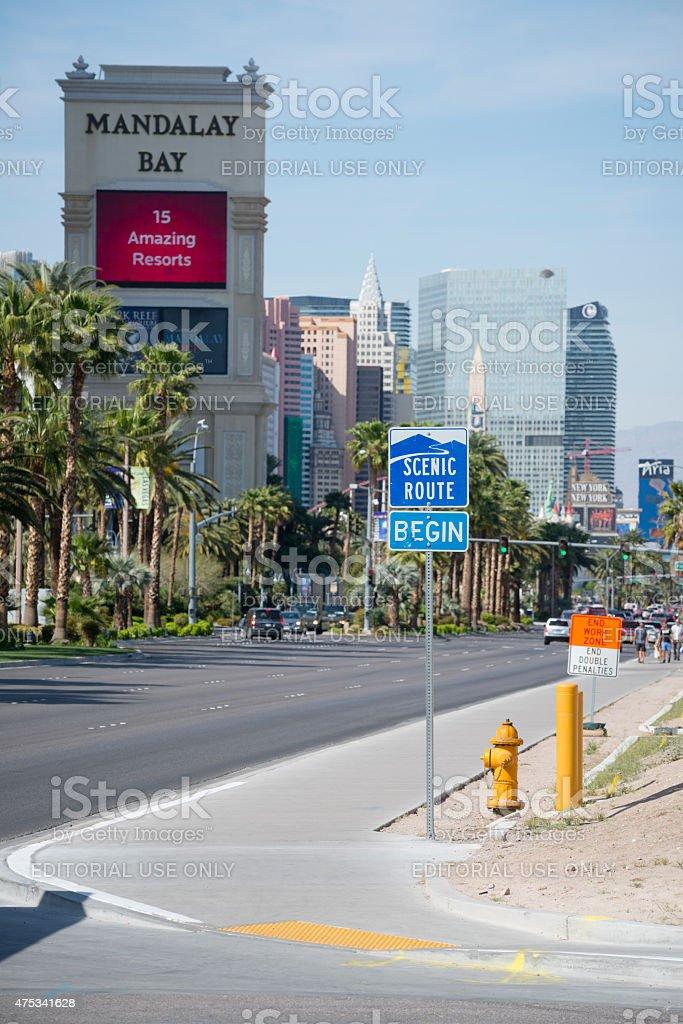 Scenic route sign for Las Vegas Boulevard strip stock photo