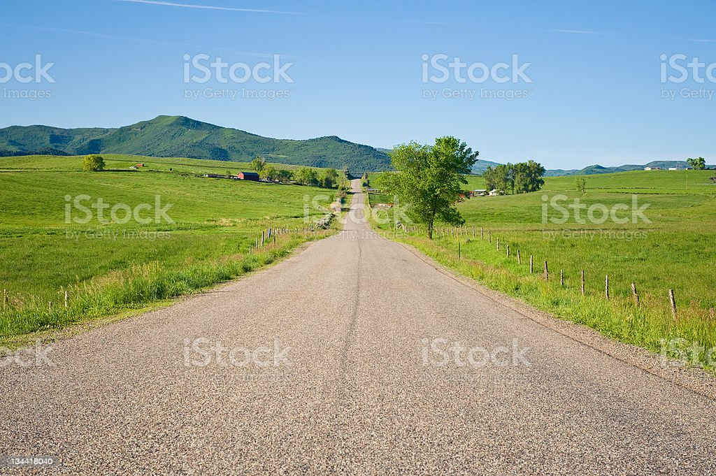Scenic Rural Landscape with Road in Colorado royalty-free stock photo