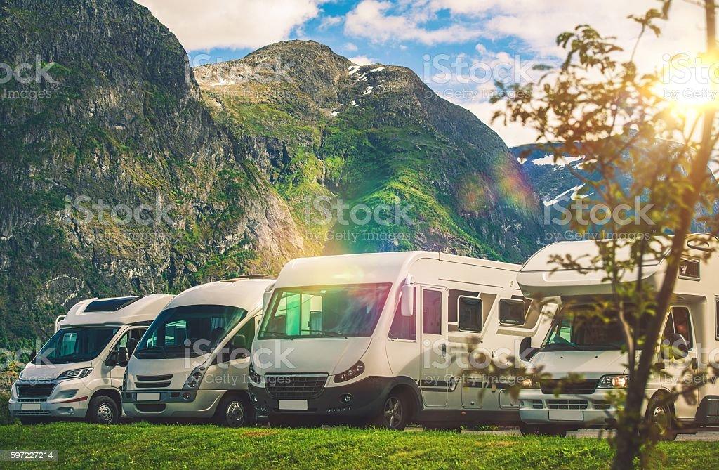 Scenic RV Park Camping stock photo